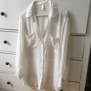 American Apparel sheer chiffon white blouse